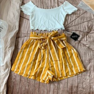 NWT zaful shorts and off the shoulder top set| S